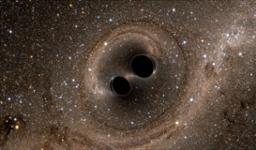 An artist's rendition of inspiraling black holes